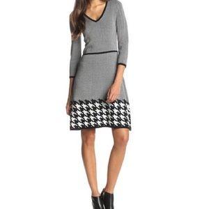 Nine West Fit N Flare Sweater Dress Black White